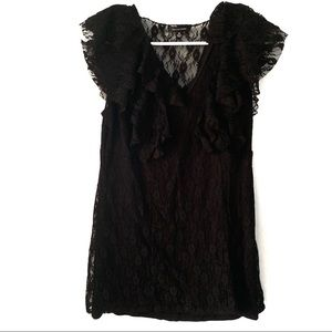 Saks Fifth Avenue Black Lace Overlay Short Sleeve